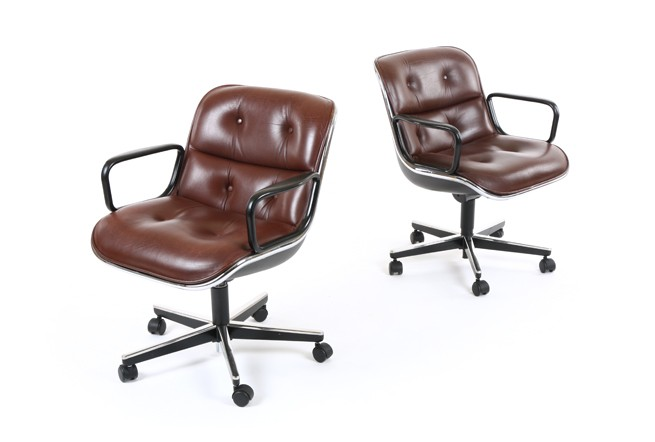 Charles Pollock Executive Chairs For Knoll In Leather