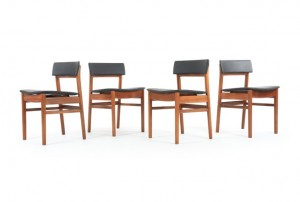 Four White and Newton Teak Dining Chairs