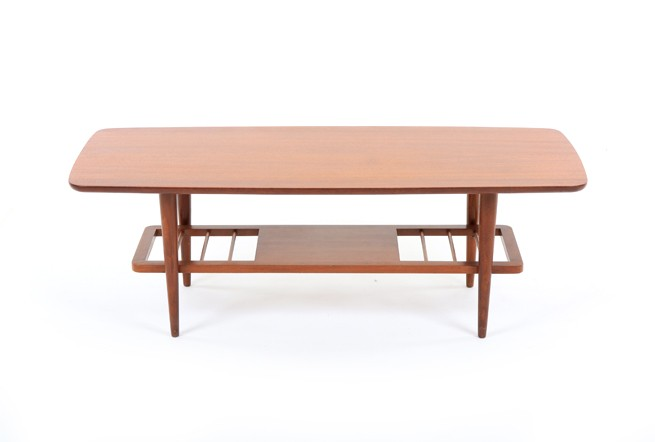 Mid Century Coffee Table with Shelf