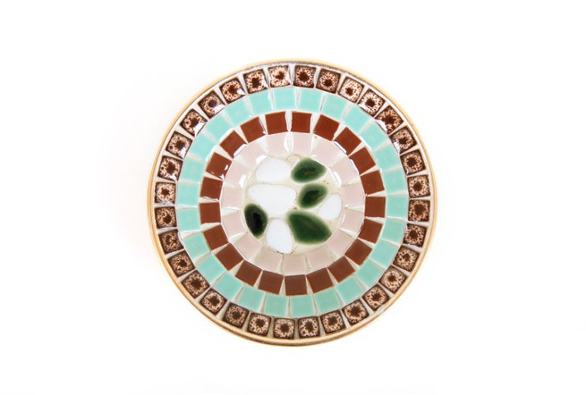 Green and Coffee Mosaic Tile Dish