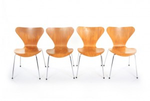 Four Fritz Hansen Series 7 Chairs