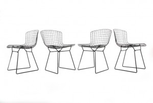 Four Harry Bertoia Steel Dining Chairs