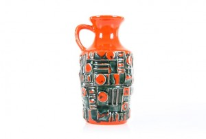 Ubelacker Red and Black Relief Vase