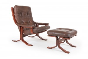 Danish DeLuxe Armchair and Ottoman