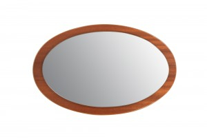 Oval UK Modern Teak Mirror