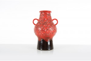 Dumler and Breiden Large Red Textured Vase