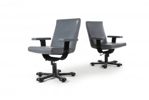 Leather Office Chairs by Vico Magistretti for LBM