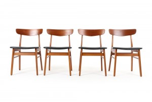 Four Farstrup Spade Back Dining Chairs