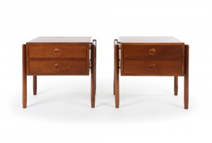 Pair of American Walnut Bedside Cabinets