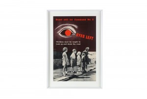 Rare Vintage Framed Poster 'Eyes Left'