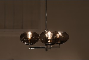 French Smoked Glass Chandelier