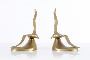 Mid Century Solid Brass Gulls Book Ends