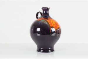 Large Hutschenreuther Orange and Violet Lava Vase