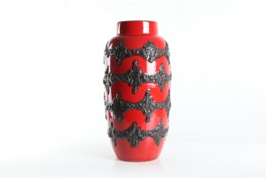 XL Scheurich Red / Black Lava Floor Vase