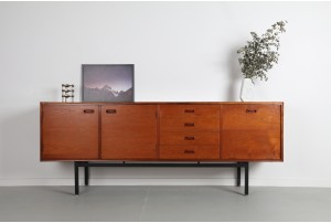 Teak Linear Sideboard with Ebonised Frame