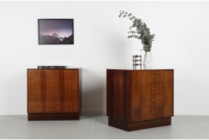 Pair of Danish Rosewood and Brass Drawers