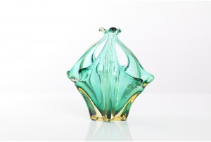 Murano Green Glass Basket