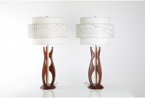 Pair of Modeline Walnut Table Lamps