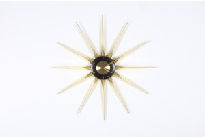 Welby Brass and Black Starburst Clock