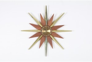 Mid-Century Brass and Teak Starburst Clock