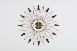Welby Criss Cross Teak Starburst Clock