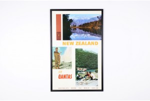 'Fly Qantas' New Zealand Travel Poster