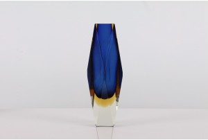 Double Sommerso Facet Vase Cobalt Blue / Yellow