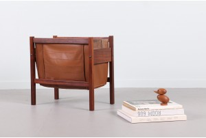 Danish Rosewood and Leather Magazine Rack