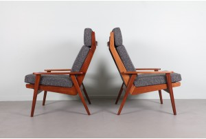 Pair of Airest Boomerang Frame Armchairs