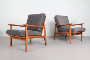 Pair of European Beech Mid Century Armchairs