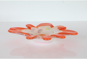 Fratelli Toso Orange Millefiori Freeform Art Glass