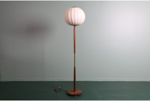 Mid-Century Mahogany Floor Lamp with Onion Shade