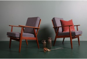 Pair of Danish Cigar Leg Armchairs