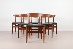 Six Danish Spade Back Dining Chairs