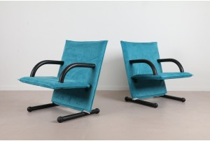 Pair of Postmodern Italian 'T-Line' Chairs by Arflex