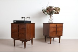 Pair of United American Walnut Bedside Cabinets