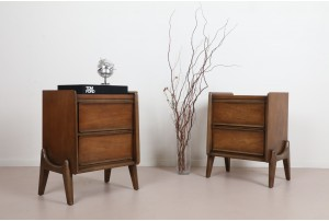 Pair of United Walnut Bedside Cabinets