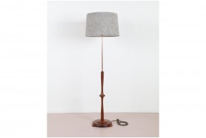 Brass and Mahogany Bowtie Floor Lamp
