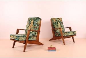 Pair of Rare NZ Rimu Architectural Armchairs