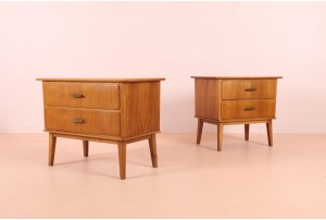Pair of European Beech Bedside Cabinets