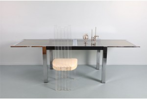 Deluxe La Metal Arredo Chrome Italian Dining Table
