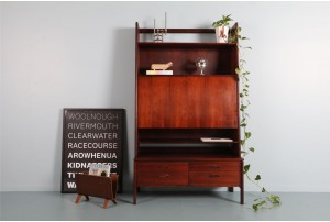 Danish Two-Piece Rosewood Drop-Front Cabinet/Desk