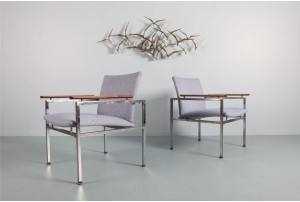 Pair of Bold Modernist Chrome and Rosewood Armchairs