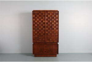 Mid-Century Tabago Brutalist Woven Armoire