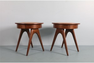 Pair of Palecek Round Bedside Tables