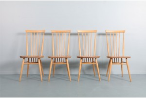 Four Ercol Windsor Tall-Back Dining Chairs