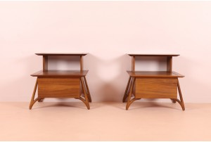 Pair of Sculptural American Walnut Bedside Cabinets
