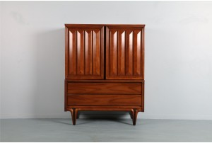 Graphic Walnut Sculpted-Leg Highboy
