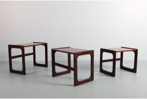 Danish Rosewood Sleigh Leg Nesting Tables