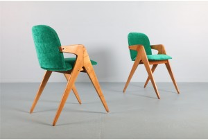 Pair of Bob Roukema Compass Chairs for Jon Jansen